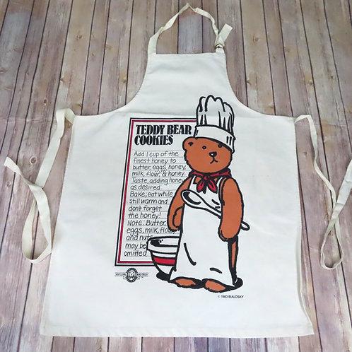 Vintage Bialoski teddy bear apron with cookie recipe print