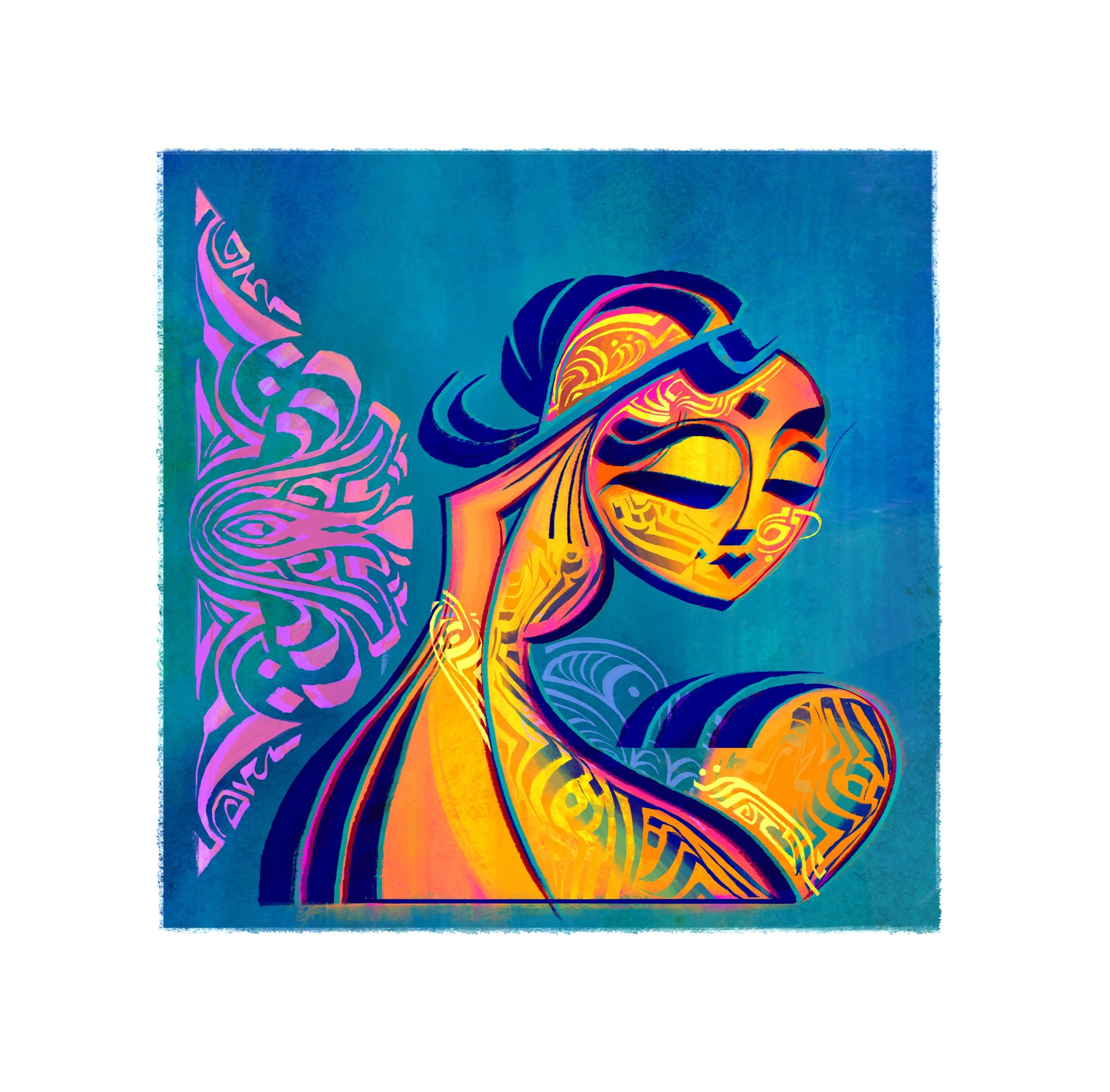 Indian Dancer 03, 8 x 8