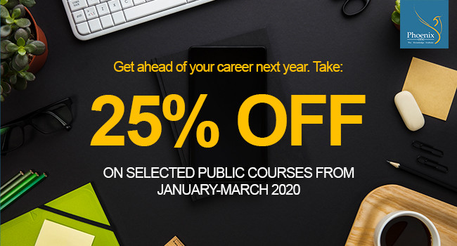 25% Off on selected courses from January to March 2020.