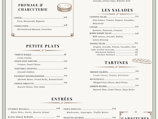 Menu Design for Edith's French Bistro