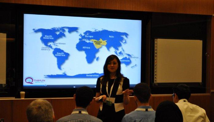 Nabila Elasar, United Ambassadors Founder Introducing Arabic MUN in Qatar at QLC 2014