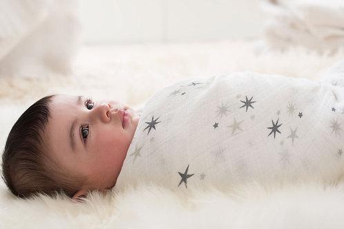 Maxi lange pour bébé mousseline twinkle étoiles light