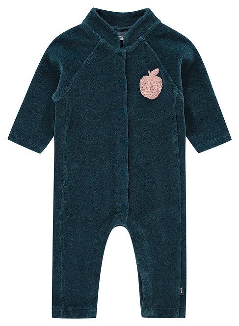 Combinaison bébé velours bleu orion