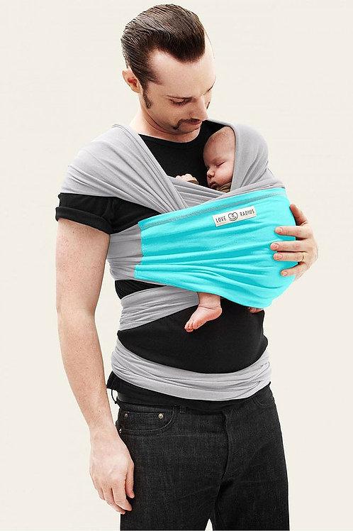 Echarpe portage bébé Originale gris/turquoise Love radius