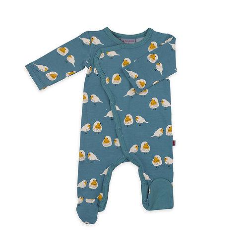 Pyjama bébé à pieds oiseaux coton bio