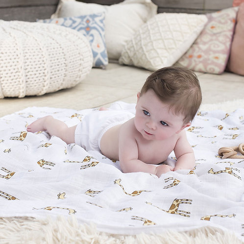 Maxi lange emmaillotage bébé mousseline coton girafes