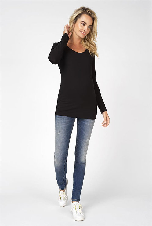 Top manches longues basic noir coton