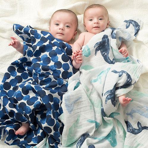 Maxi lange pour bébé mousseline coton pois indigo