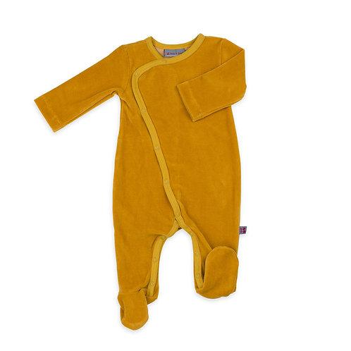 pyjama bébé en velours coton bio moutarde