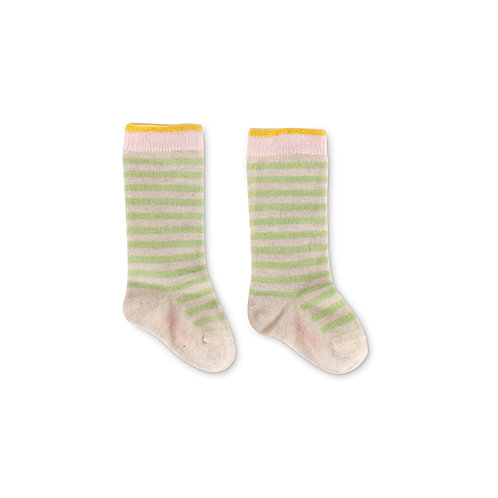 Chaussettes bébé rayées vert tendre coton bio Imps& Elf