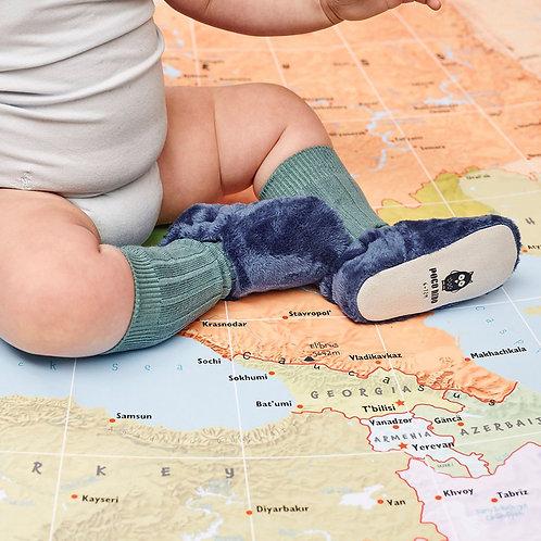 Chaussons pour bébé peluche bleue
