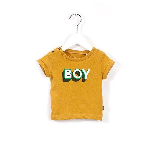 T-shirt bébé en coton bio Boy jaune safran Imps & Elf