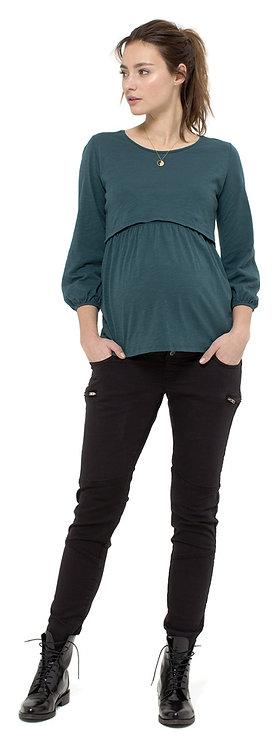 Blouse grossesse allaitement vert canard