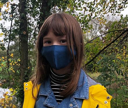 Masque tissu adulte, ado et enfant uni bleu