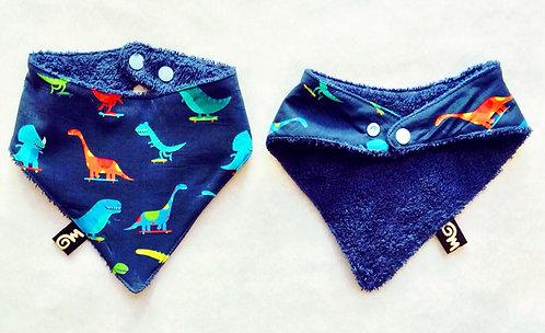 Bavoir bandana bébé imprimé dinosaures skateurs