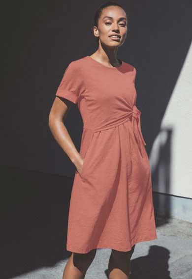 Robe grossesse & allaitement coton flammé Terracotta