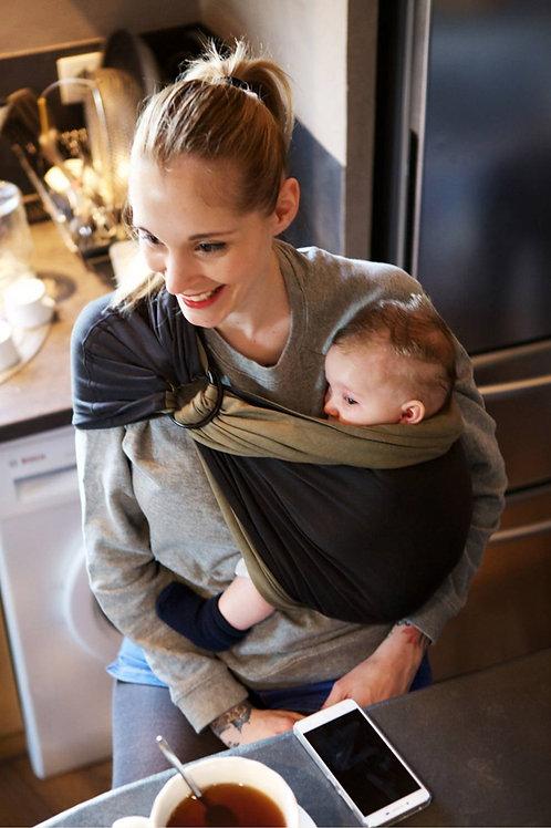 Echarpe sans noeud portage kaki abthracite bébé Love Radius (Je porte mon bébé)