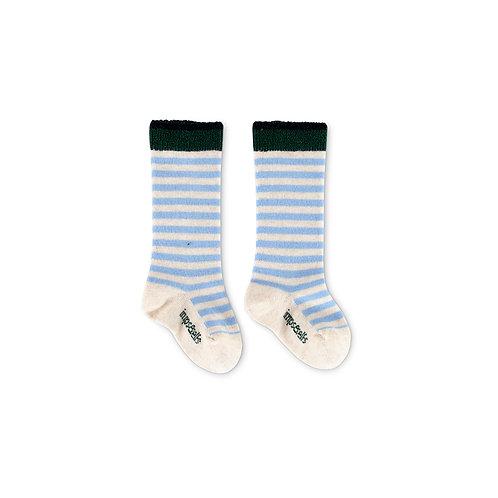 Chaussettes bébé rayées bleu ciel coton bio imps& elf