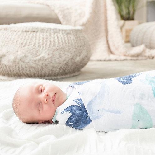 Maxi lange pour bébé mousseline coton baleines