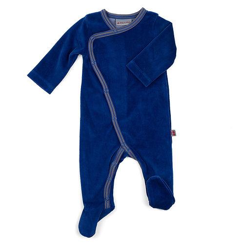 Pyjama pour bébé velours biologique hip blue