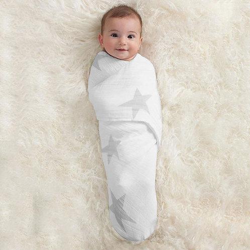 Maxi lange pour bébé mousseline twinkle grandes étoiles gris clair