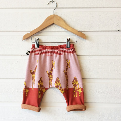 Pantalon pour bébé sarouel girafes made in france