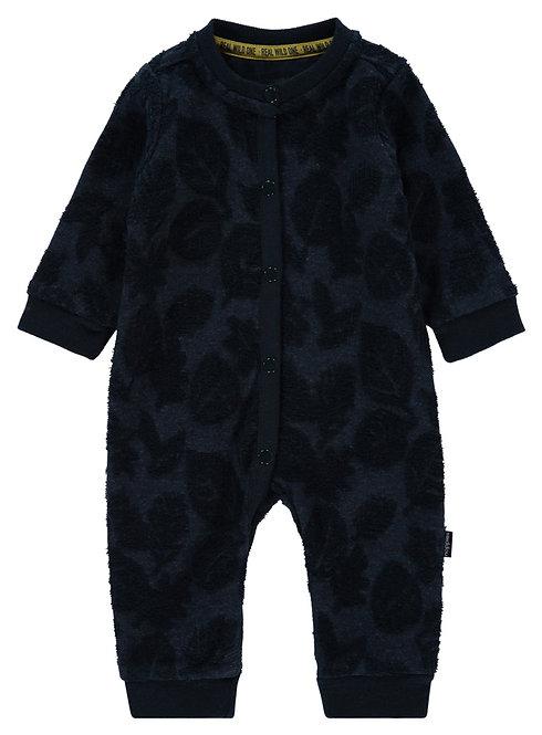 Grenouillère bébé bleu saphir motifs feuilles