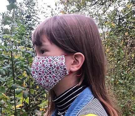 Masque tissu adulte, ado et enfant fleurs rouge