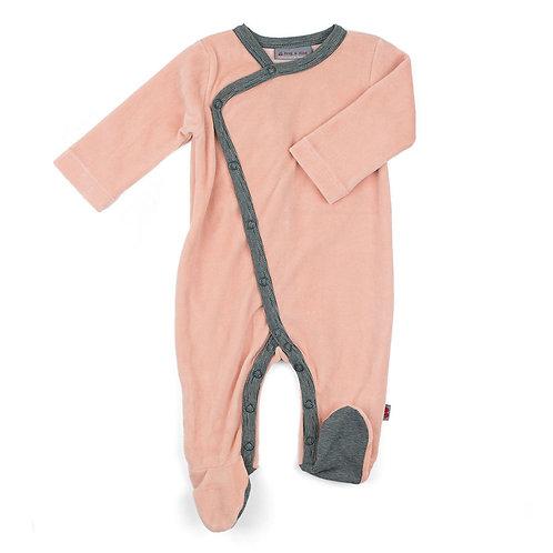 Pyjama pour bébé velours biologique soft pink