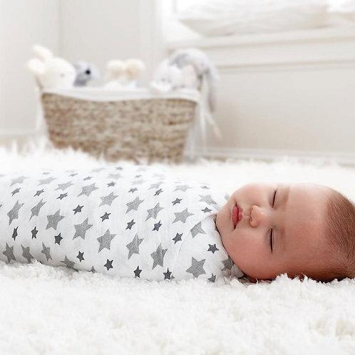 Maxi lange emmaillotage bébé mousseline twinkle étoiles bold