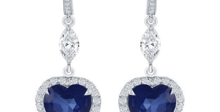 DFJ Heart Shaped Blue Sapphire & Diamond Dangle Earrings