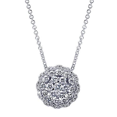 Gabriel & Co.- Round Cluster Diamond Necklace
