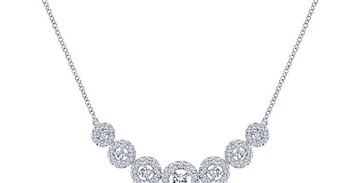Gabriel & Co. - Seven Stone Diamond Halo Curved Necklace