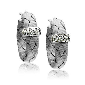 Diamond Woven White Gold Hoop Earrings