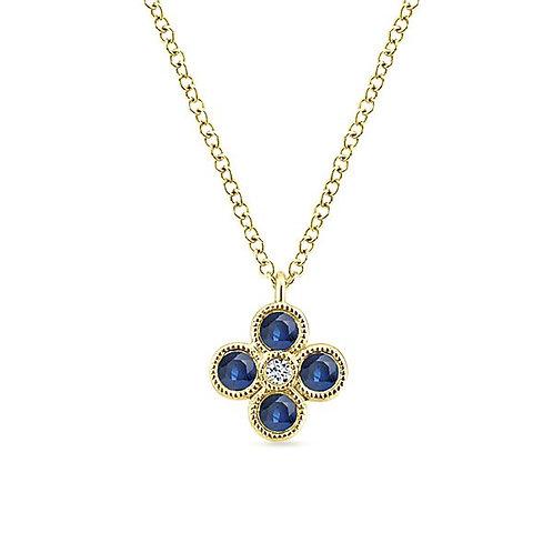 Gabriel & Co. - Sapphire Clover Necklace
