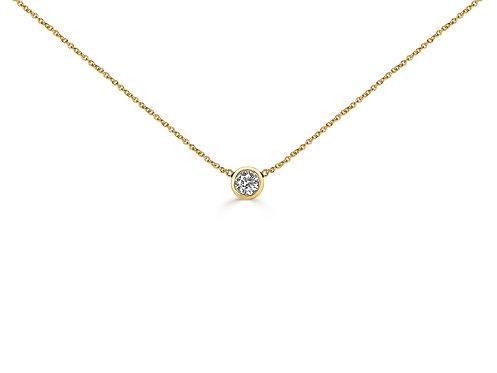 Bezel Set Solitaire Diamond Necklace