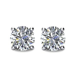Diamond Stud Earrings - Four Prong Basket