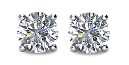 Diamond Stud Earrings - Four Prong Basket