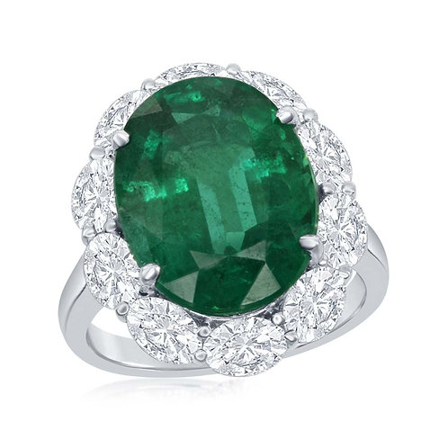 Jewels By Jacob - Oval Emerald and Oval Diamond Halo Ring