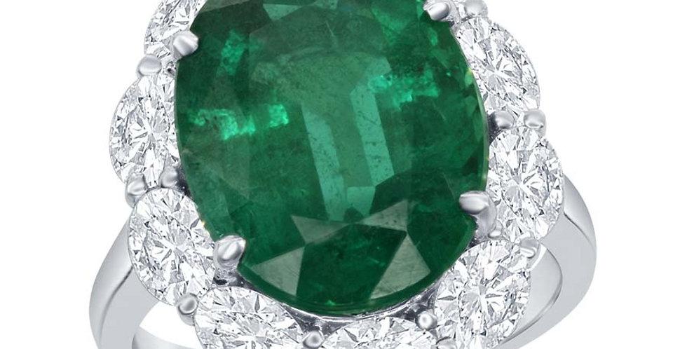 DFJ Oval Emerald and Oval Diamond Halo Ring