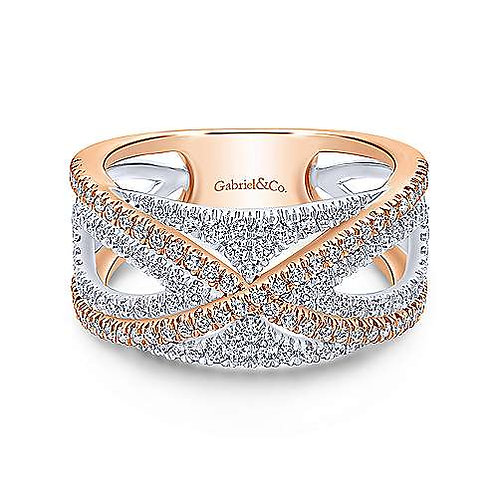 Gabriel & Co -White & Rose Gold French Pave Diamond Band