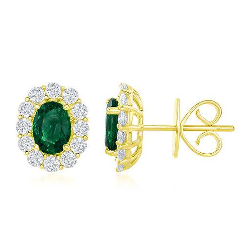 DFJ Oval Emerald & Diamond Halo Stud Earrings
