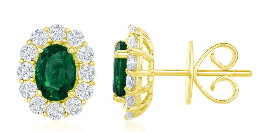 Jewels by Jacob Oval Emerald & Diamond Halo Stud Earrings