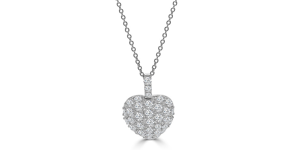Puffed Diamond White Gold Heart Necklace