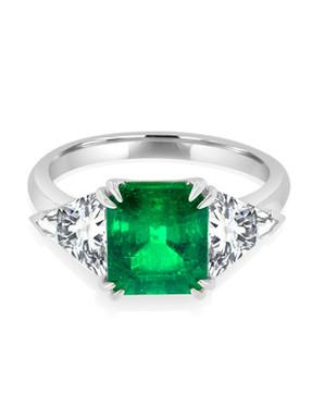 Emerald Cut Emerald and Trillion Three S