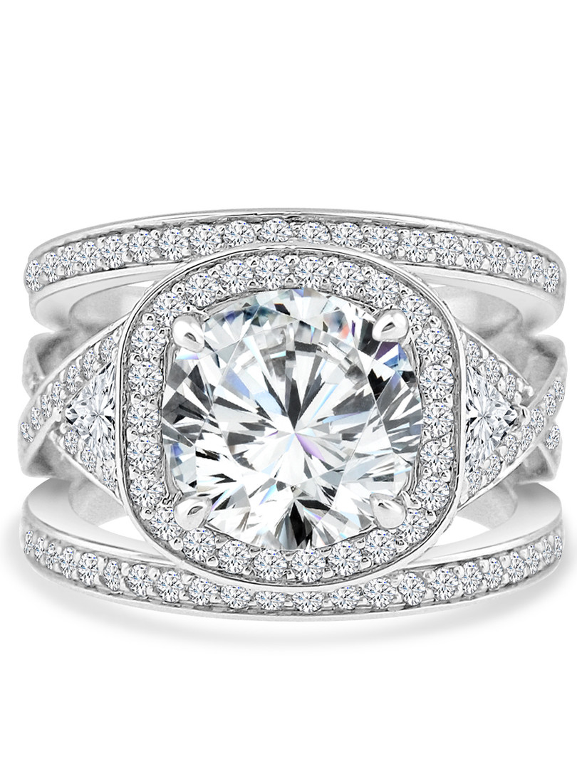 Round Diamond Halo Wide Three Band Ring.