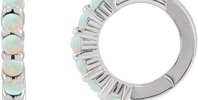 Opal Huggie Hoop Earrings