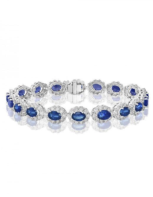 DFJ Oval Sapphire & Diamond Floral Bracelet