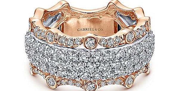 Gabriel & Co -White & Rose Gold Fancy Diamond Band