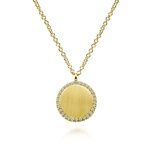 Gabriel & Co - Round Engravable Necklace with Diamond Halo